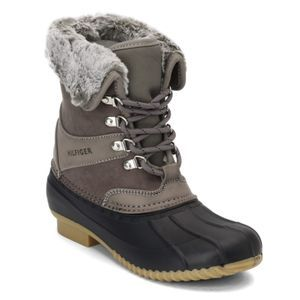 New Tommy Hilfiger Rusteen Duck Boot Gray Size 6